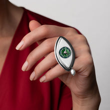 Load image into Gallery viewer, Green Eye Statement Ring with Pearl