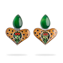 Load image into Gallery viewer, Leopard Earrings with Green Agate Stone