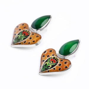 Leopard Earrings with Green Agate Stone