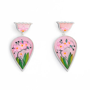 Pink Orchid Statement Earrings