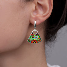 Load image into Gallery viewer, Red Poppy Enamel Earrings in Sterling Silver