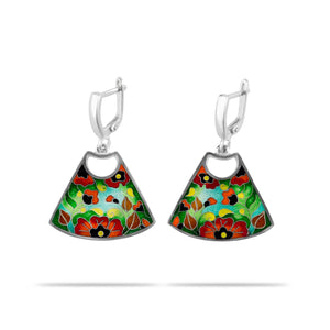 Red Poppy Enamel Earrings in Sterling Silver