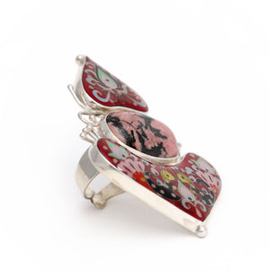 Carnelian Stone Statement Ring with Roosters