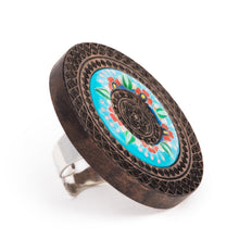 Load image into Gallery viewer, Round Wooden Statement Ring with Enamel