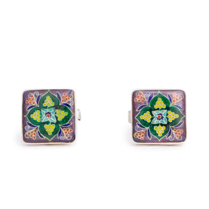 Sterling Silver Cufflinks with Cloisonné Enamel