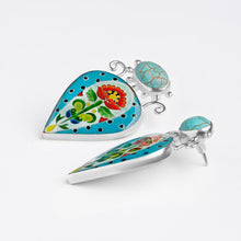 Load image into Gallery viewer, Turquoise Statement Earrings in Sterling Silver