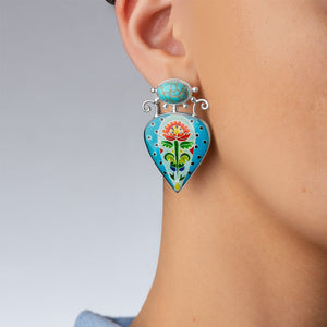 Turquoise Statement Earrings in Sterling Silver