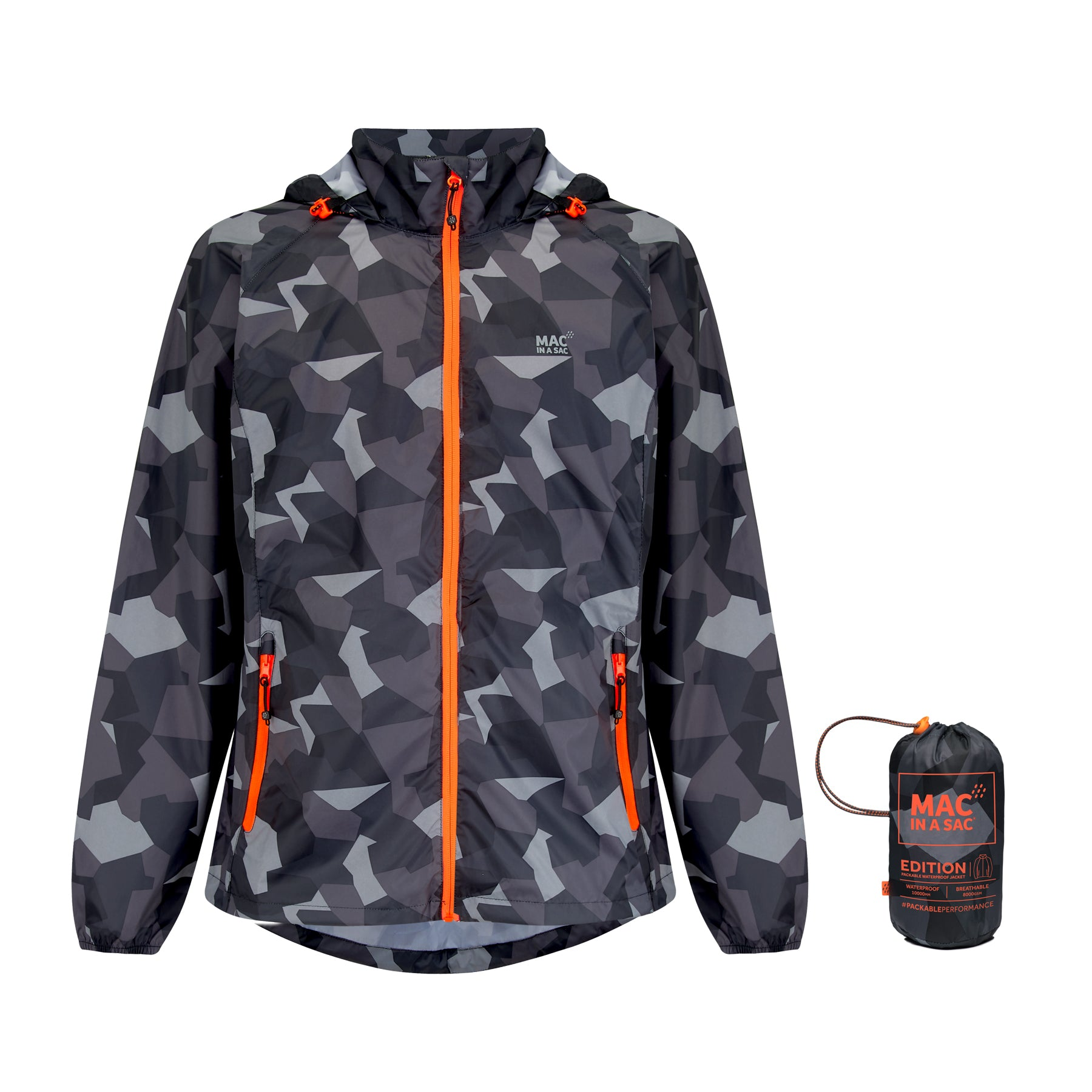 Origin Packable Waterproof Jacket - Black Camo