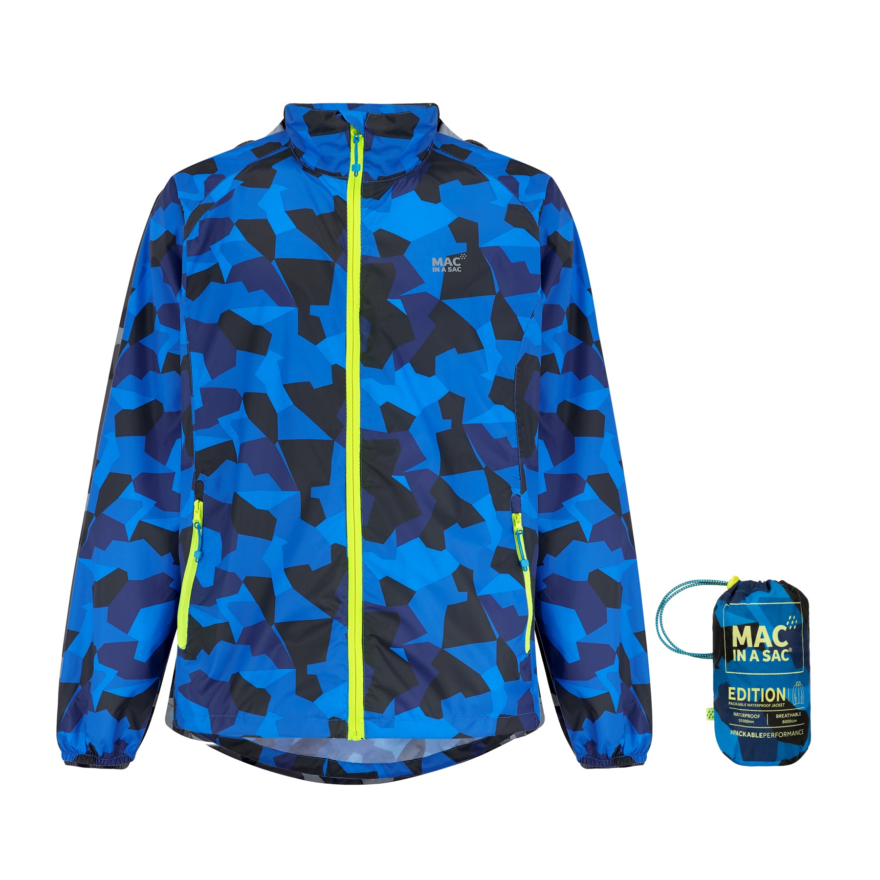 Origin Packable Waterproof Jacket - Blue Camo