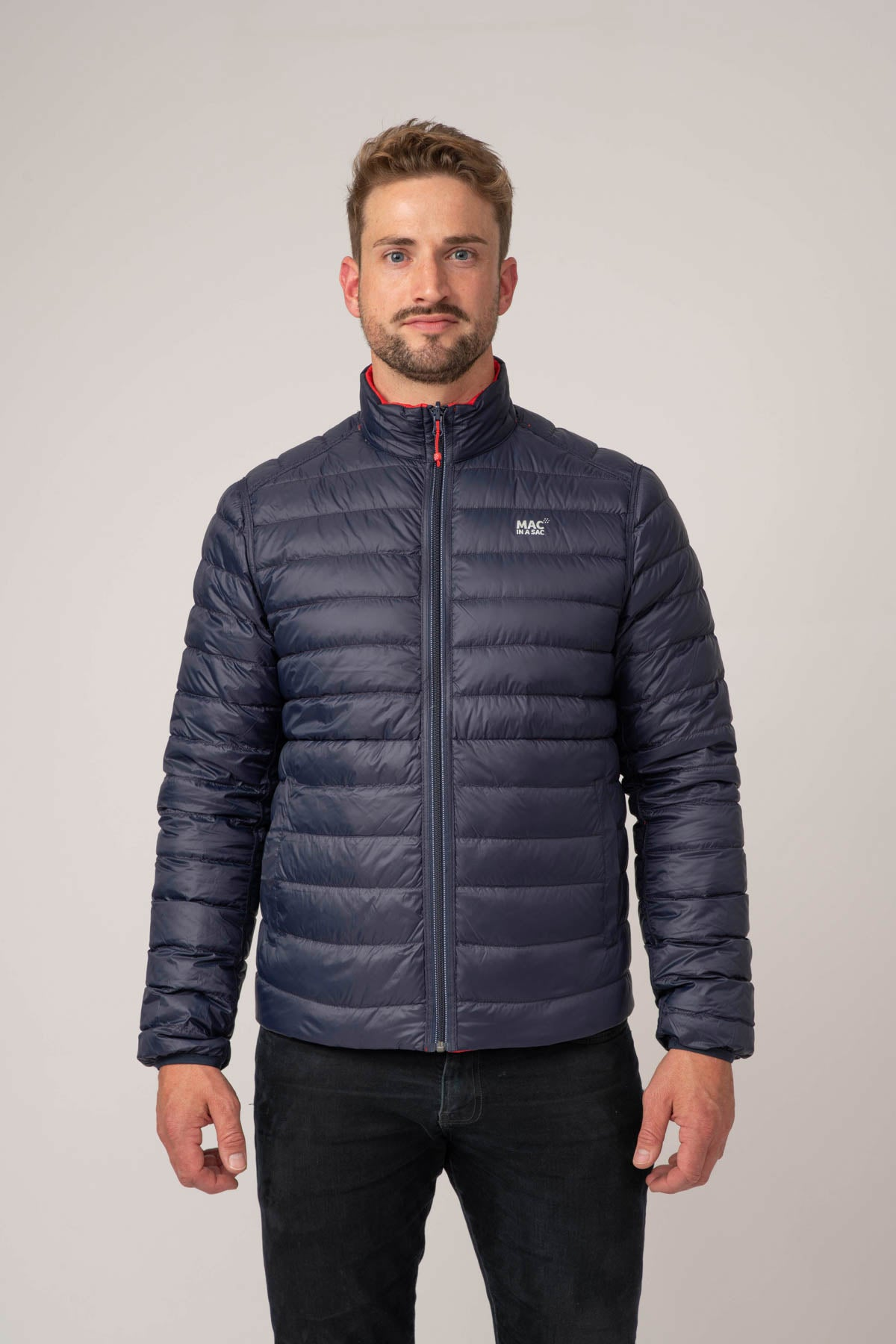 Polar - Mens Packable Down Jacket - Navy Red