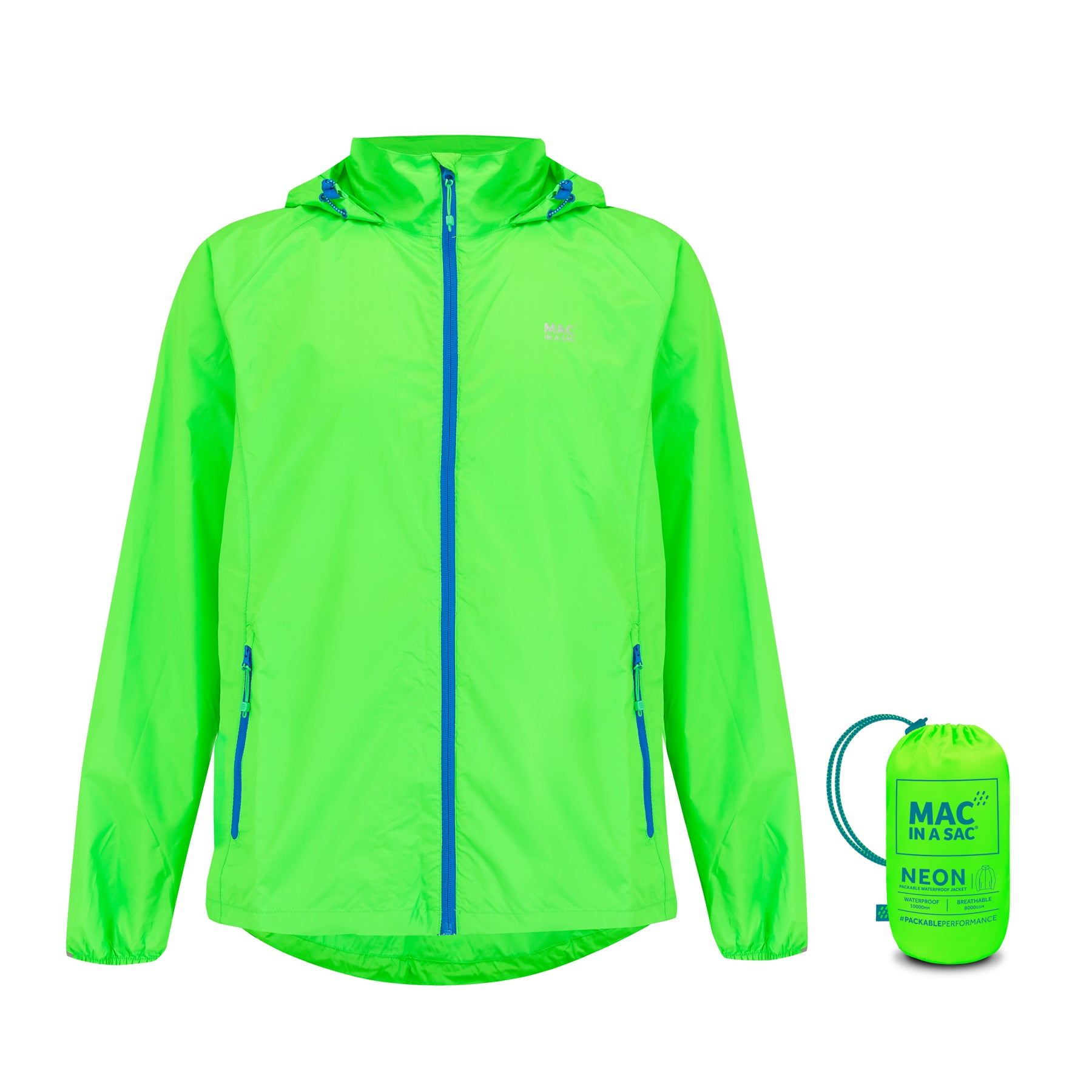 Origin Packable Waterproof Jacket - Neon Green