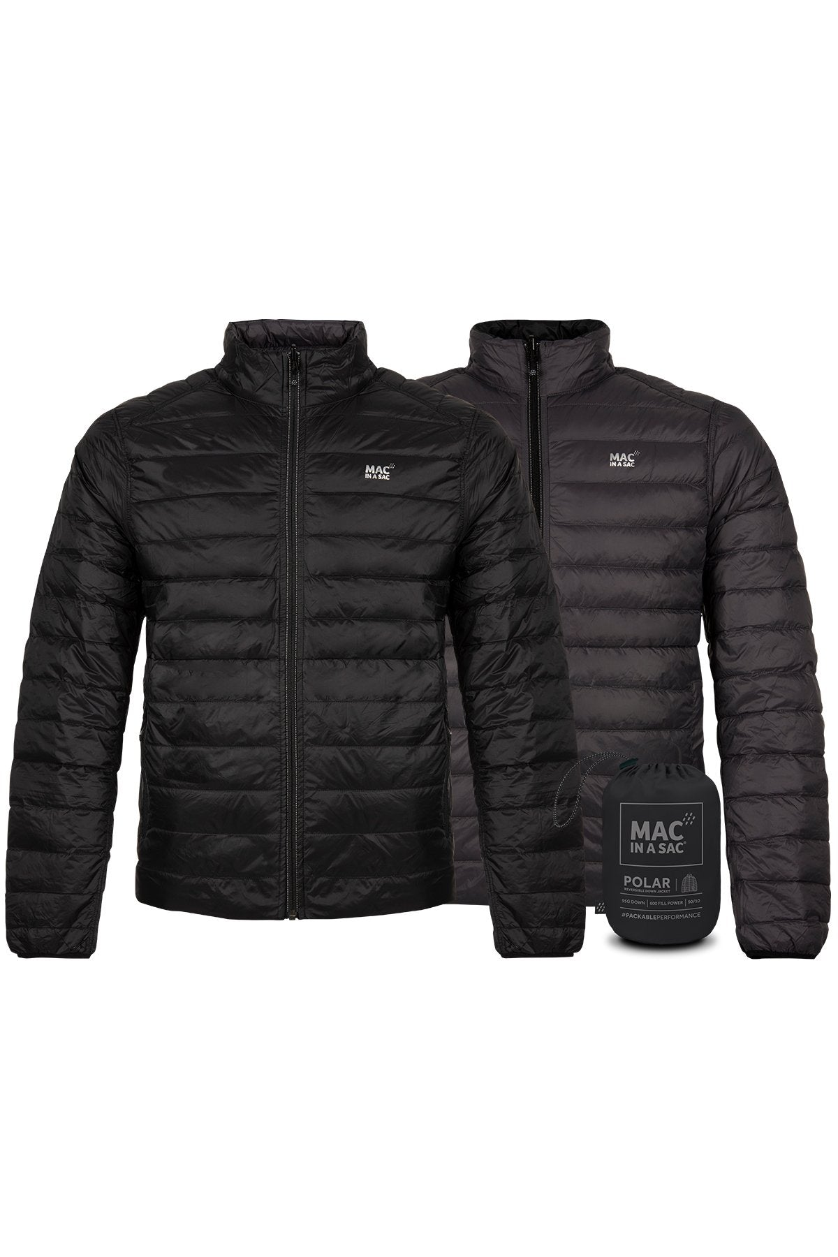 Polar II Mens Reversible Down Jacket - Jet Black - Charcoal