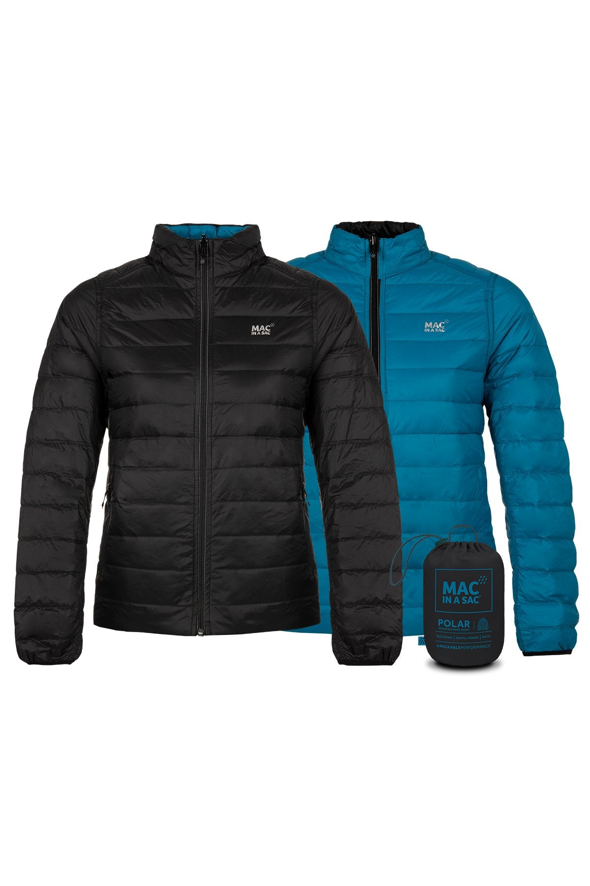 Polar II Womens Reversible Down Jacket - Jet Black teal