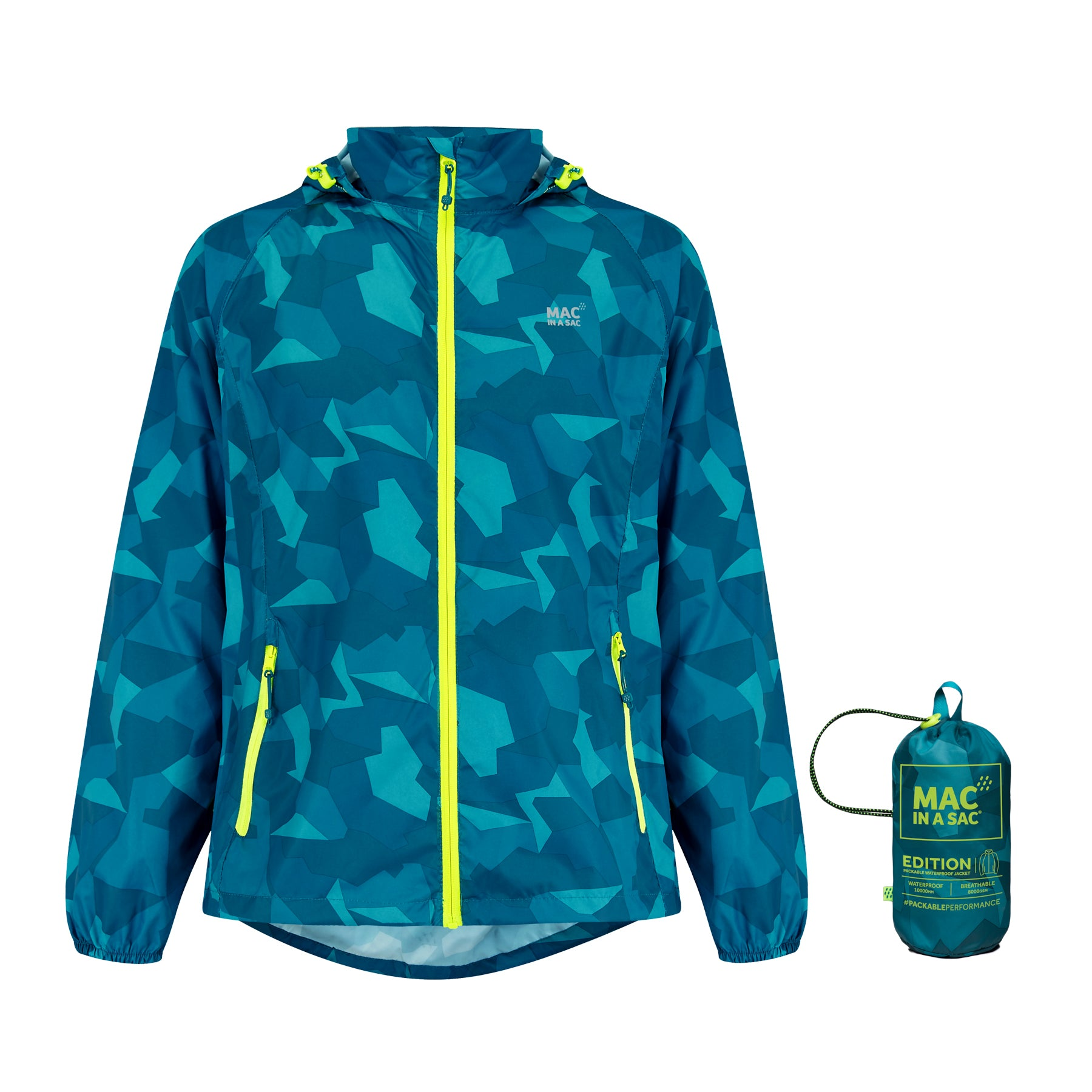 Origin Packable Waterproof Jacket - Teal Camo