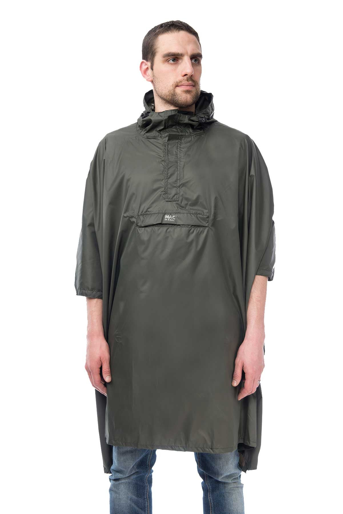 Mac in a Sac Origin Waterproof Packaway Poncho in Khaki.  Modelled Front View