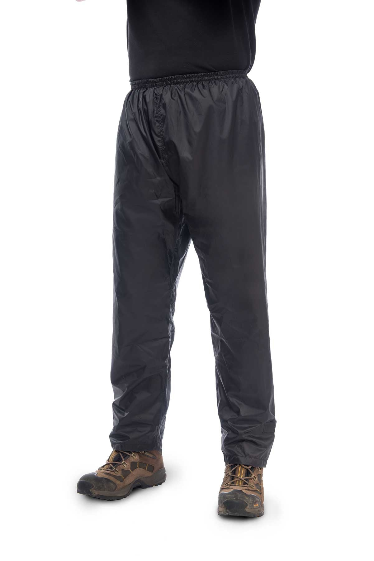 Mac in a Sac Origin Waterproof Packaway Overtrousers in Jet Black, Front View, Modelled