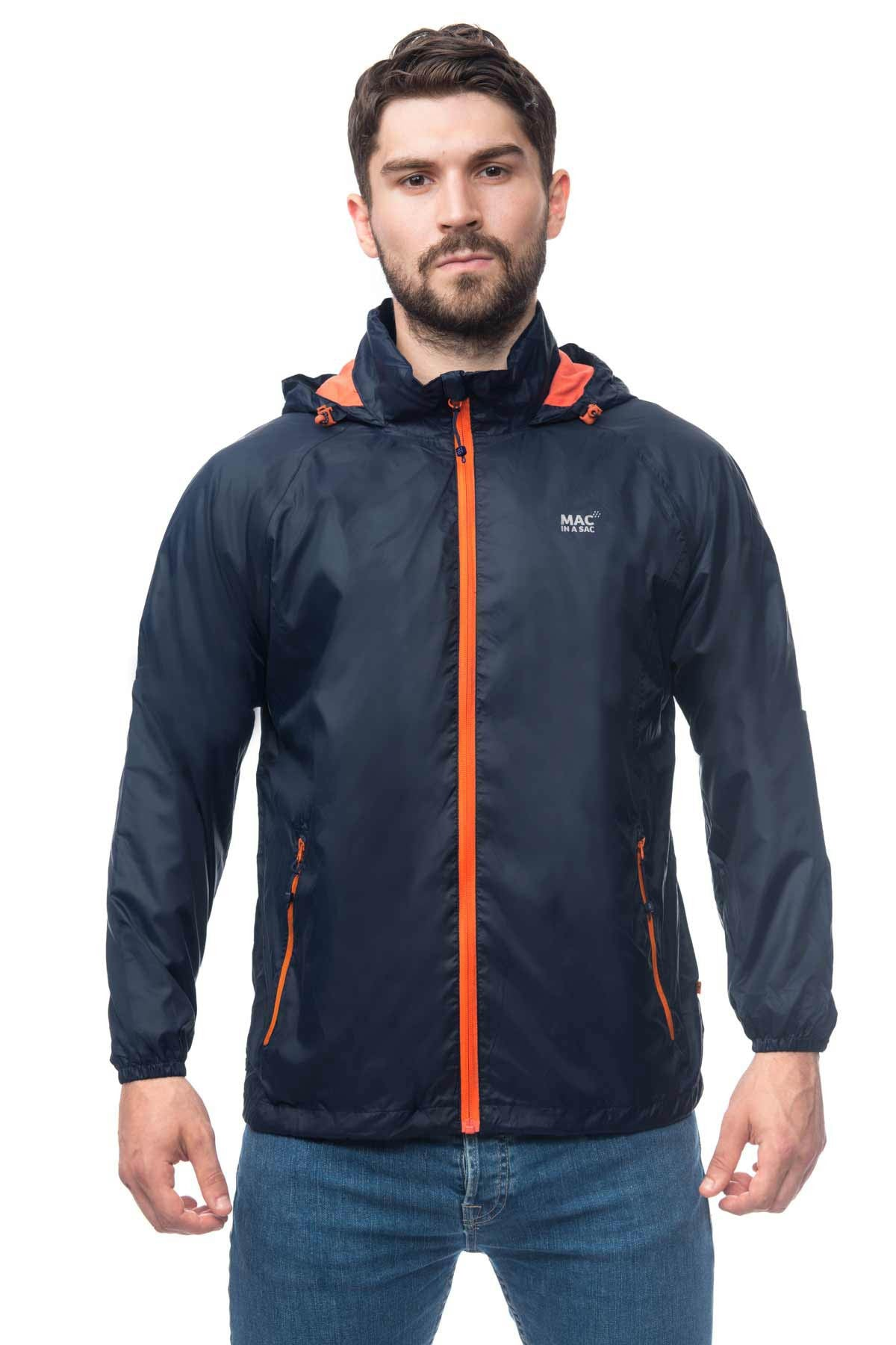 Mac in a Sac Synergy Jersey Lined Packable Waterproof Jacket in Navy, with contrast zip