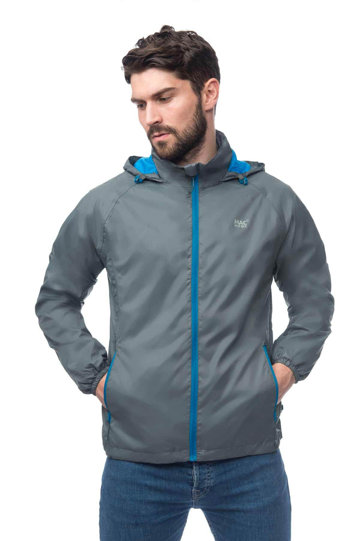 Mac in a Sac Synergy Jersey Lined Packable Waterproof Jacket in Grey, with contrast blue zip