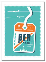 Berlin luggage tag - tea towel
