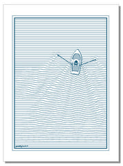 Boat and linear wave - tea towel