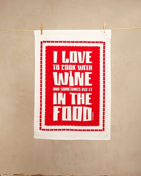 I Love To Cook With Wine - Geschirrtuch