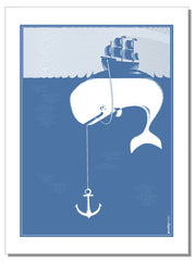 Whale - tea towel