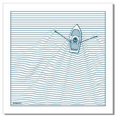 Boat and linear wave - set of 2 napkins