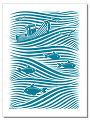 Waves - tea towel