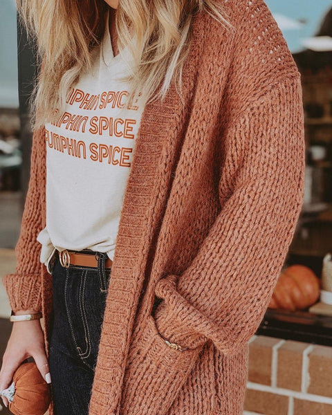 Rust Oversized Sweater Cardigan