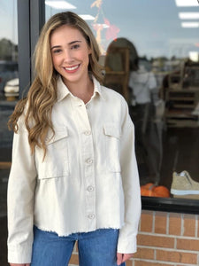 Oatmeal Button Up Top