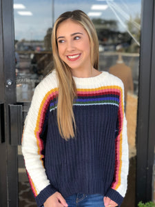 Rainbow Stripe Knit Sweater