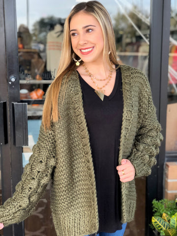 Hand Made Knitted Cardigan with Bubble Sleeve