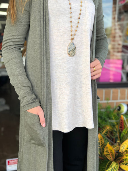 Sage Ribbed Long Sleeve Duster