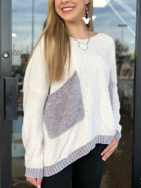 Chenille Pullover Sweater with Front Pockets