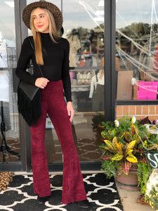 Burgundy Stretch Fit Corduroy Bell Bottoms