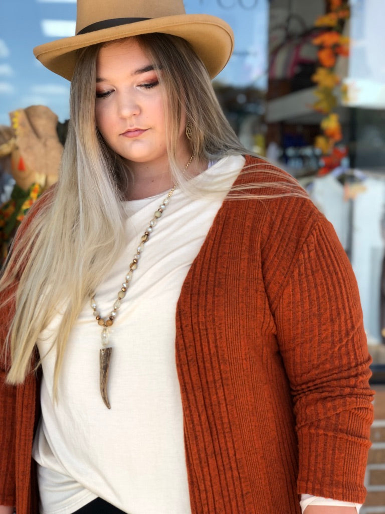 Rust Ribbed Knit Duster