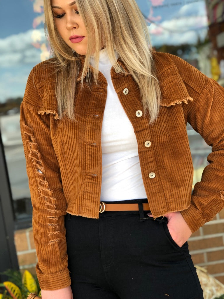 Distressed Rust Corduroy Jacket