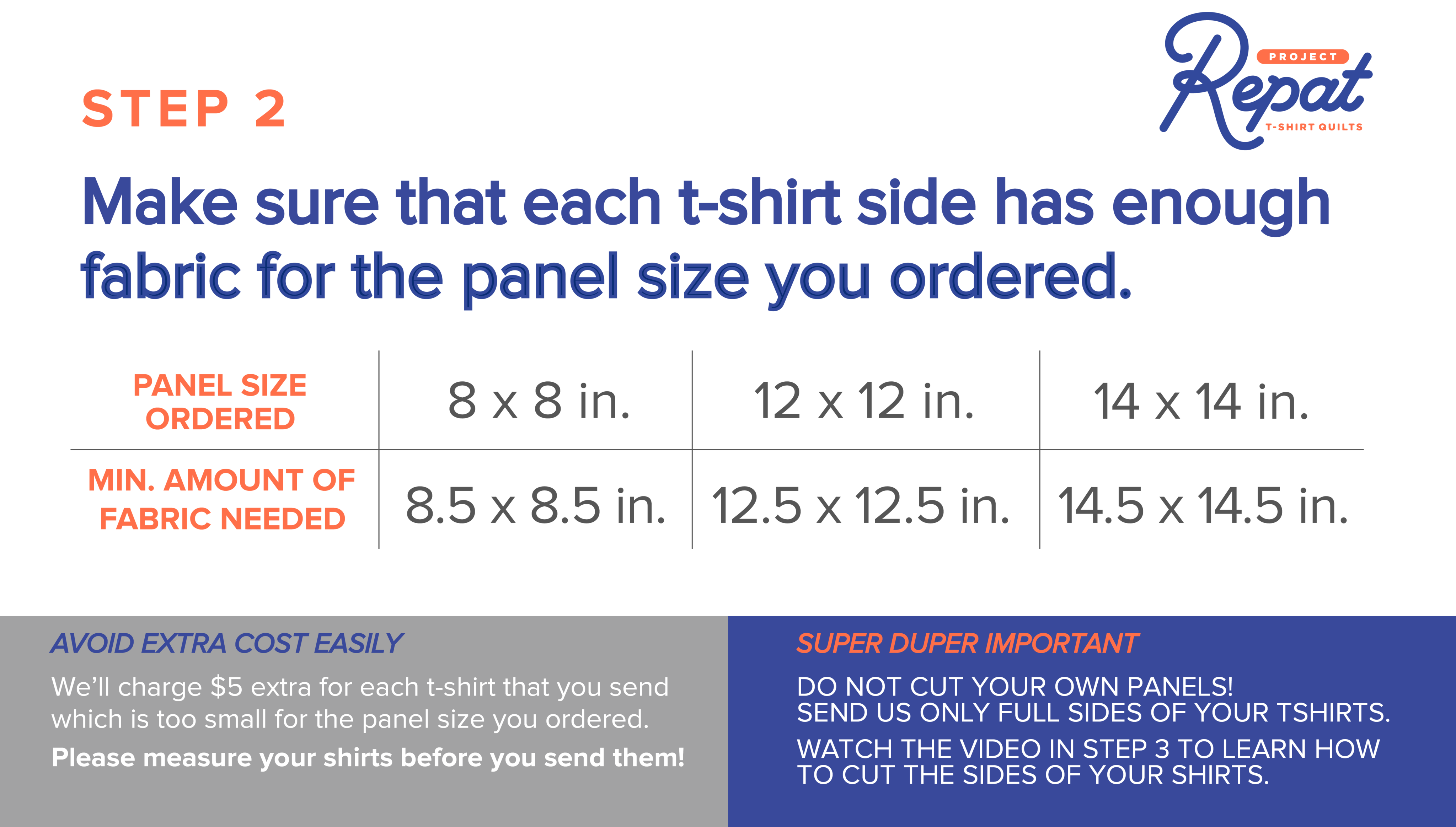 Instructions for sending your shirts to Project Repat
