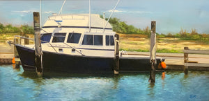 "Oregon Inlet (Boats) - 16""x30"""