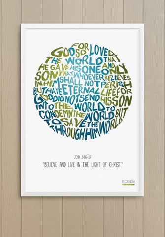 Winter Clearance - John 3:16-17 Poster Print A3