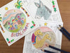 Christmas cards for colouring by Hannah Dunnett