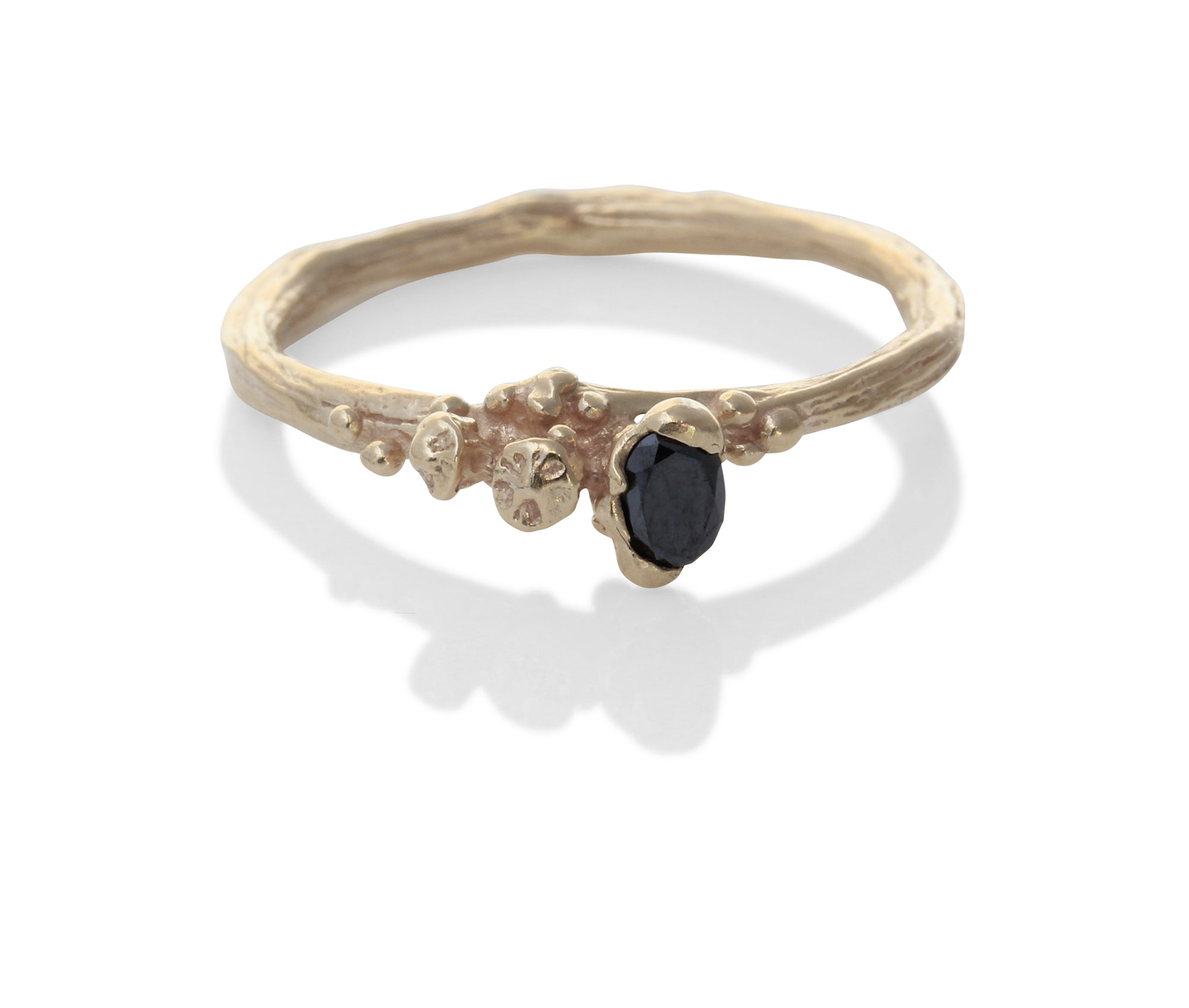 """Berries"" ring in gold with oval black diamond - EilyOConnell"