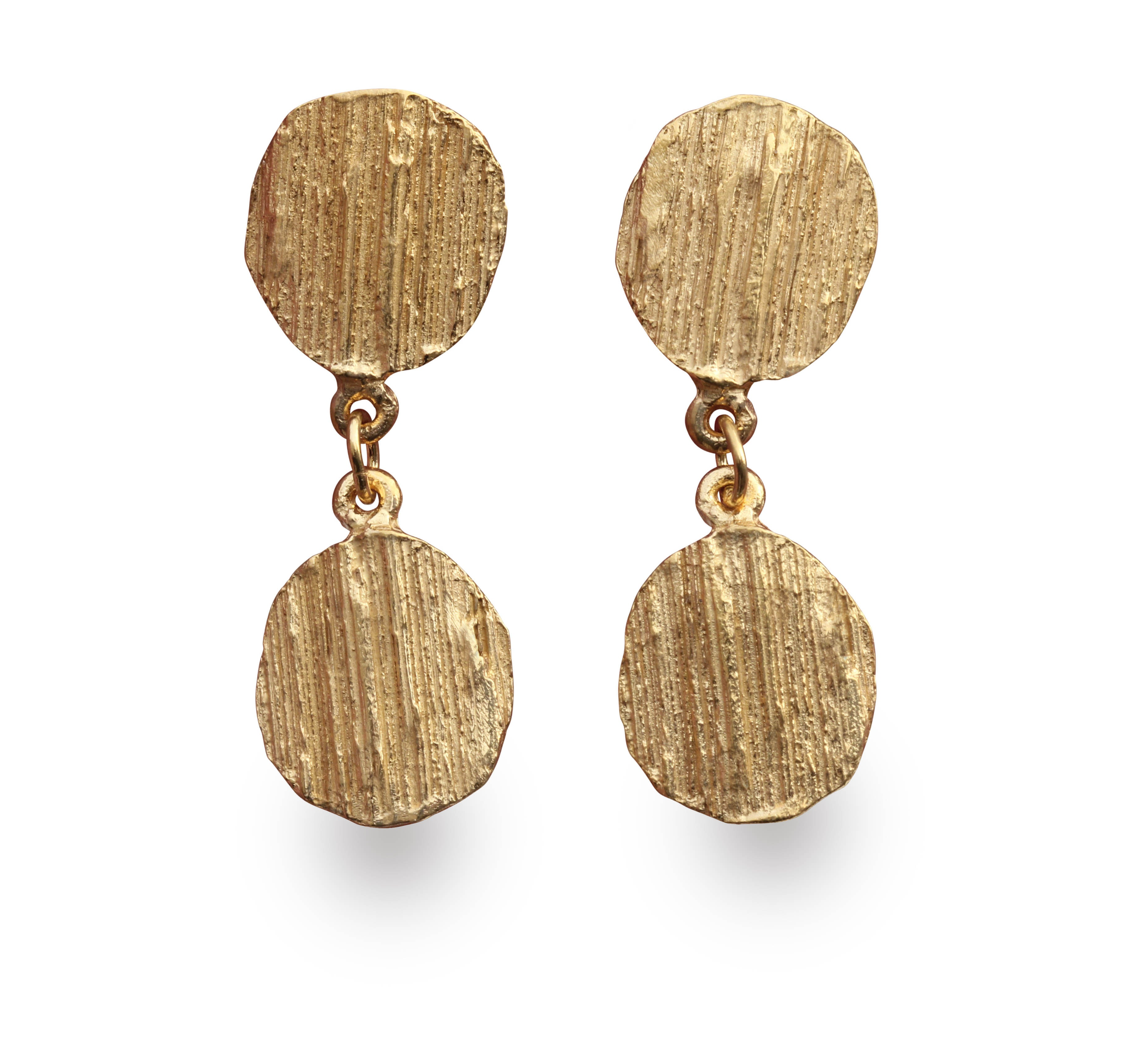 """Barking mad about you"" double drop earrings  gold - EilyOConnell"