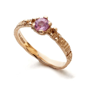 Sunbark ring, 14carat gold with pink sapphire - EilyOConnell
