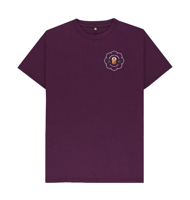 Purple Cheerful Buddha Organic Cotton T Shirt - White logo