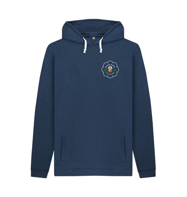 Navy Cheerful Buddha Organic Cotton Mens Pullover Hoodie - White logo