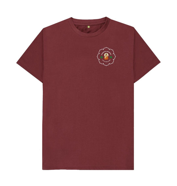 Red Wine Cheerful Buddha Organic Cotton T Shirt - White logo