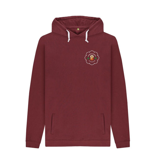 Red Wine Cheerful Buddha Organic Cotton Mens Pullover Hoodie - White logo