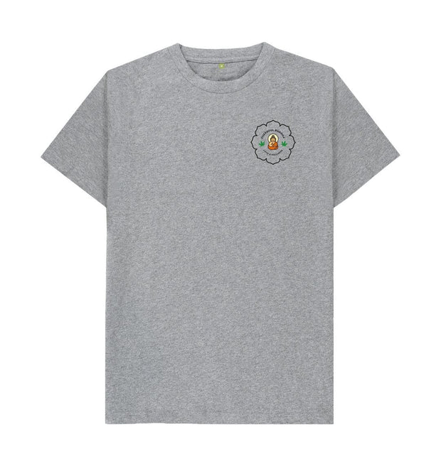 Athletic Grey Cheerful Buddha Organic Cotton T Shirt - Black logo