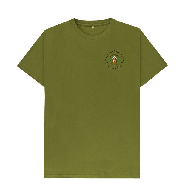 Moss Green Cheerful Buddha Organic Cotton T Shirt - Black logo